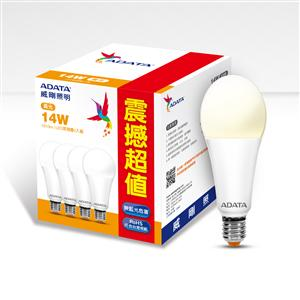 威剛照明 14W LED 球泡(125 lm / W)四入組-黃光