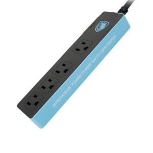 賽德斯SADES 1切4插座-黑藍1 . 5米大電流電競延長線
