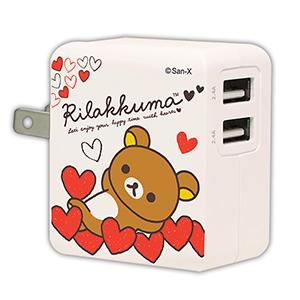 杰強 拉拉熊-愛心1 3 . 4A 智慧型充電器