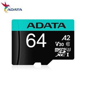 威剛 Premier Pro microSDXC UHS - I U3 A2 V30 64G記憶卡(附轉卡)