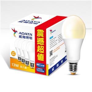 威剛照明 13W(四入組)大角度LED球泡燈-黃光