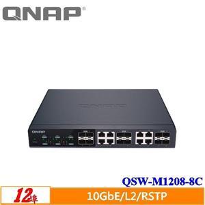 QNAP QSW - M1208 - 8C 12埠10GbE L2 Web管理型交換器