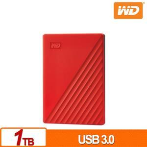 WD My Passport 1TB(紅) 2 . 5吋行動硬碟(2019)