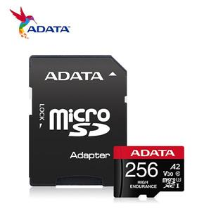 威剛 High Endurance microSDXC UHS - I U3 A2 V30 256G高耐用記憶卡(附轉卡)