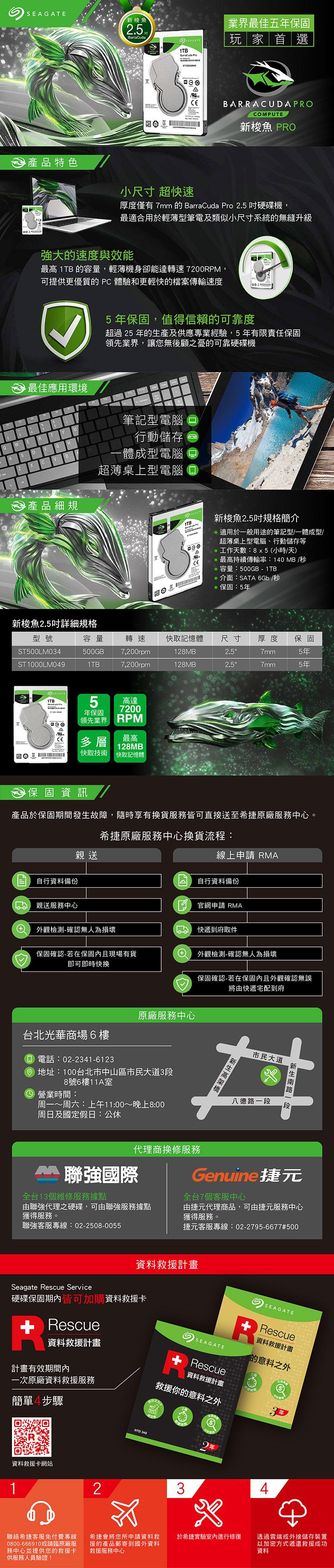 【鴻霖-硬碟】Seagate新梭魚BarraCuda Pro 1TB 2.5吋 7200轉 (ST1000LM049)